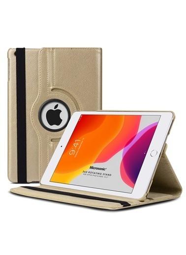 Microsonic Apple iPad 10.2'' 8. Nesil (A2270-A2428-A2429-A2430) Kılıf 360 Rotating Stand Deri Altın